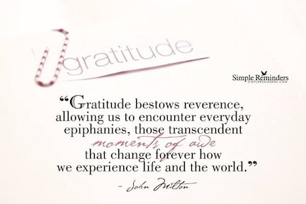 simple reminders Epiphany of Gratitude